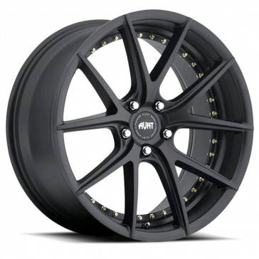 AVAT AV1 20X9.5+40 5X120 MATTE BLACK (UNDER CUT) GOLD RIVETS*** STAGGERED***