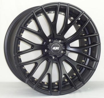 AVAT AV2 20X8.5+45 5X112 MATTE BLACK (UNDER CUT) GOLD RIVET