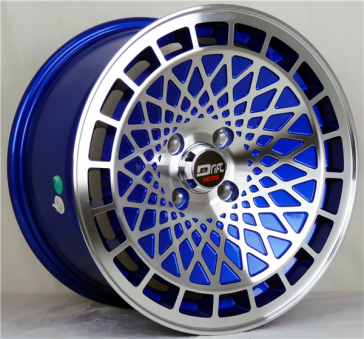 DRIFT L441 DR9 15X8+25 4X100 C.B 73.1 BLUE MACHINE FACE & LIP