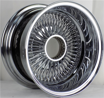 17X8 STD 100 SPOKE K/O ALL CHROME WIRE WHEEL