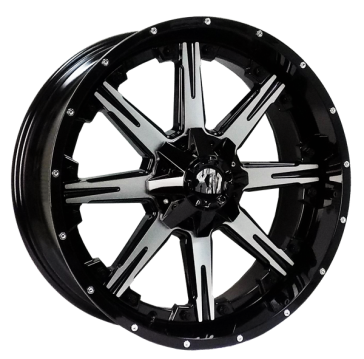 XTREME MUDDER 160 22X9+5 5X139.7+5X150 C.B 110 BLACK MACHINED FACE