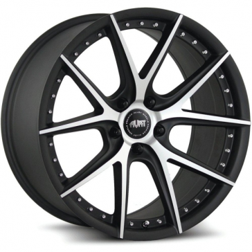 AVAT AV1 17X7.5+42 5X114.3 MATTE BLACK MACHINE FACE MACHINE RIVETS