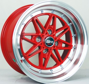 DRIFT L372 DR4 15X8+25 4X100 C.B 73.1 RED MACHINE LIP