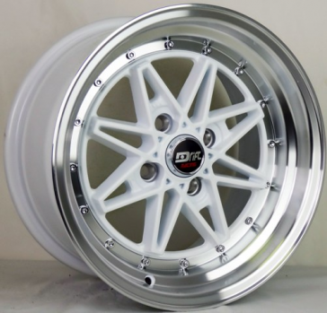 DRIFT L372 DR4 15X8+25 4X100 C.B 73.1 WHITE MACHINE LIP