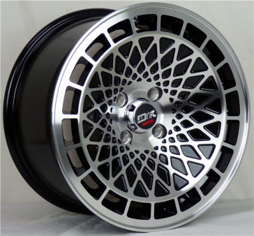 DRIFT L441 DR9 15X8+25 4X100 C.B 73.1 GLOSS BLACK MACHINE FACE & LIP