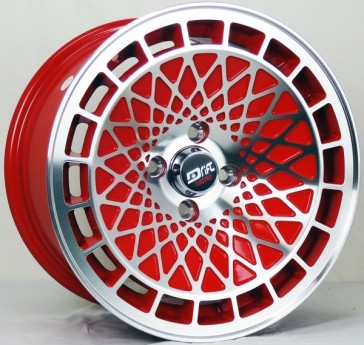DRIFT L441 DR9 15X8+25 4X100 C.B 73.1 RED MACHINE FACE & LIP