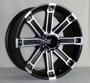 L023 20X9+20 6X139.7 C.B 110 MATTE BLK MACHINE FACE & LIP