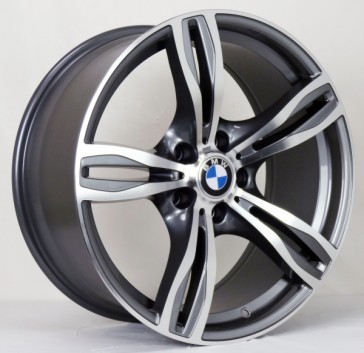 BMW L266 19X9.5+20 5X120 C.B 72.60 GUN METAL MACHINE FACE AND LIP***Sold as Staggered ONLY**