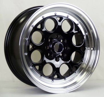 L431 16X8+25 4X100+4X114.3 C.B 73.1 GLOSS BLACK MACHINE LIP