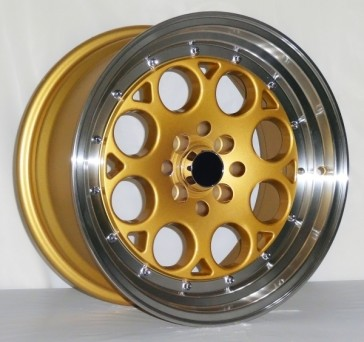 L431 16X8+15 4X100+4X114.3 C.B 73.1 GOLD FACE MACHINE LIP