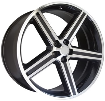 IROC 22X9.5+10 5X120.65 BLACK MACHINE