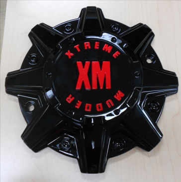 xtreme mudder xm-316 wheel center cap black red logo