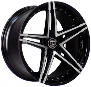 ELEGANTE AX571 20X10+40 5X114.3 C.B 73.10 BLACK MACHINED FACE****STAGGERED***