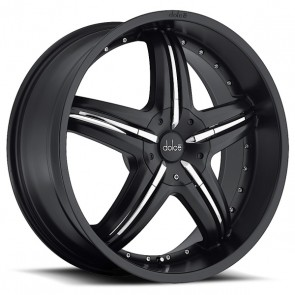 DOLCE DC26 18X7.5+40 5X100+5X114.3 C.B 73.10 MATTE BLACK W/ CHROME ACCENTS