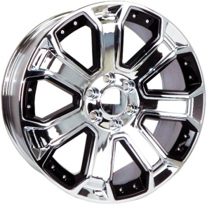G06 [GMC, CHEVY REPLICA] 22X9+31 6X139.7 C.B 78.10 CHROME WITH BLACK INSERTS**SPECIAL**